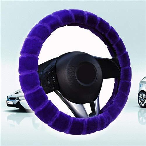 CHENDX Cubierta del Volante del automóvil Invierno Cálido Peluche Trenzado Universal en el Volante del Coche de la Rueda del automóvil 38 cm (Color : Blue Purple, Size : Free)