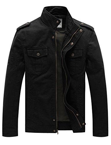 WenVen Giacca Militare Classica in Cotone Giubbotto con Zip Antivento Cappotto Leggero Autunnale Giaccone Casual Tempo Libero Uomo Nero Nuovo L