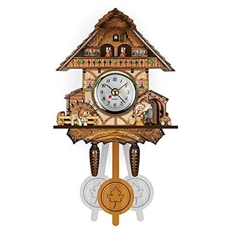 ZHJIUXING ST Reloj de Cuco de la Selva Negra de Madera auténtica con Mecanismo de Cuarzo con Funcionamiento a Pilas y Sonido de Cuco, Mecanismo Musical, I