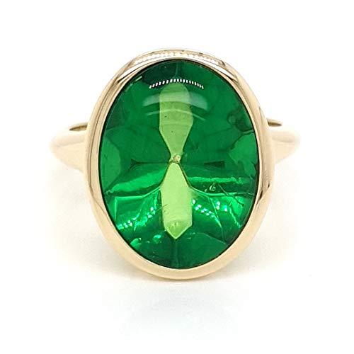 Sogni d´oro Classic Damenring aus 375 Gelbgold mit grünem Bernstein Edelstein, ca. 3,4 ct - Ringgröße 21 (66)