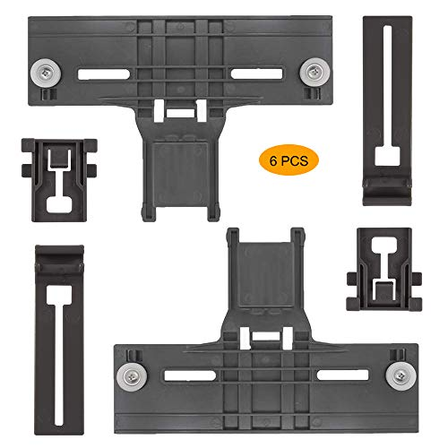 6 Pack New Upgrade W10350376(2) W10195840(2) W10195839(2) Dishwasher Top Rack Parts for Kenmore elite,W/ 0.9 In Diameter Wheel,kitchen Aid whirlpool kenmore Dishwasher Adjuster W10712394VP,w10350374
