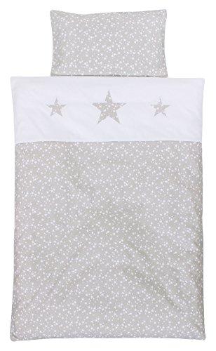 Babybay Piqué-Bettwäsche für Kinderbett, perlgrau Sterne weiß, Einheitsgröße