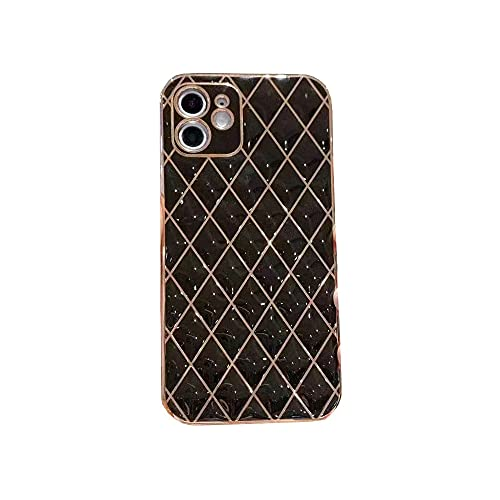 Estuche para teléfono Rhombus electrochapado para iPhone 12Pro MAX Mini XS MAX XR7 8 Plus Funda Protectora de Color sólidoanticaída, Negro, para iPhone 7 Plus