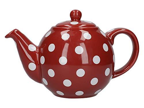 London Pottery - Tetera de 2 Tazas, diseño de Lunares, Color Rojo y Blanco