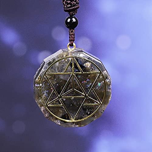KAUG Colección Orgonita Colgante Orgon Aura Collar Labradorite Collar Amuleto Collar Convertidor Energía Energía Yoga Collar Regalo