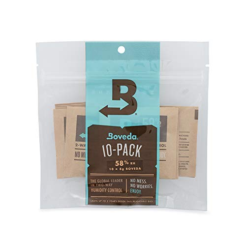 Boveda 58% RH 2-Way Humidity Control | Size 8 in 10-Count Resealable Bag