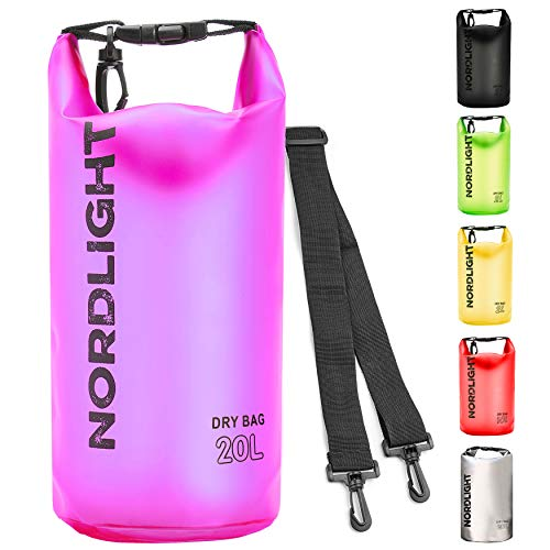 Dry Bag 20l Wasserdichter Beutel (Pink) - Packsack mit Tragegurt, Strandsafe Dokumententasche Für, Strand, Kanu, Stand Up Paddling, Wandern, Kajak, Tauchen, Angeln, Schwimmen
