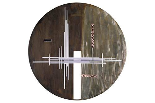 KunstLoft Extravagante Metall Wandskulptur 'Zeichen der Zeit' 61x61x5.5cm | Design Wanddeko XXL handgefertigt Metallbild Wandrelief | Abstrakt Kreis Braun Silber | Wandbild modern