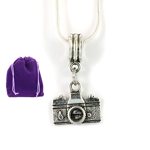 Photographer Necklace | Camera Necklace Silver Plated Snake Chain Camera Jewelry or Camera Gifts for Photographers Women or Necklace with Camera for a Photography Necklace or Camera Necklaces