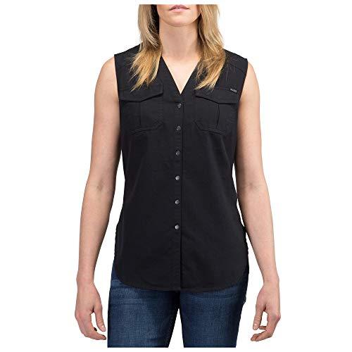 5.11 Haut Tactique sans Manches pour Femme - 100% Coton léger à Chevrons - Style 61313 Large À Chevrons - Noir