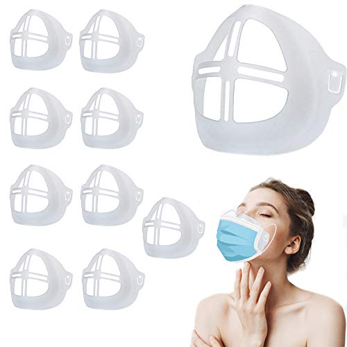 3D Mask Bracket Washable Reusable Inner Support Frame Mouth and Nose Protection Lipstick Stand Increase Breathing Space to Help Smooth Breathe (Adults/10Pcs)