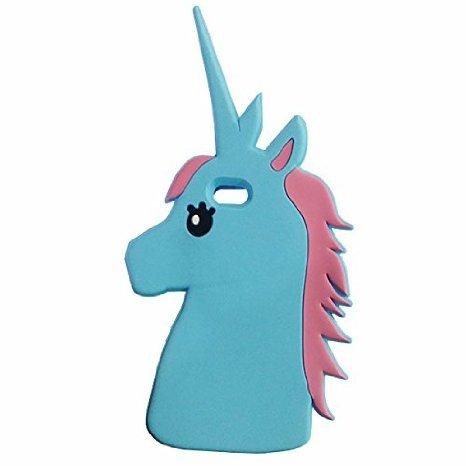 Anya - Cover posteriore in silicone per Apple iPhone 6 6S, motivo: unicorno da 4,7', colore: Blu