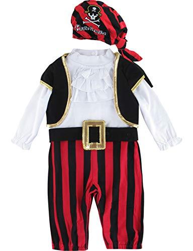 MOMBEBE COSLAND Mono Bebé Disfraz Pirata Niño Manga Larga Gorro Algodón (Pirata, 18-24 Meses)