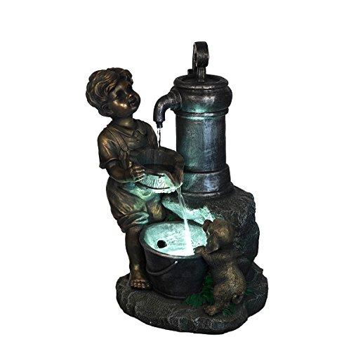 XL Brunnen Kind und Hund mit LED Leuchte,G53-110, (Brunnen12), LED Lampe, Dekobrunnen, Springbrunnen, Wasserspiele Vogelbad MIT elektrischer Pumpe, 60 cm hoch, Deko, Polyresin, Gartendekoration,