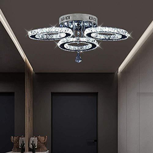 Crystal Chandelier, Led Ceiling Light Flush Mount Modern Stainless Steel Pendant Lights Fixtures for Dining Room Living Room (3 Rings Cool White) …