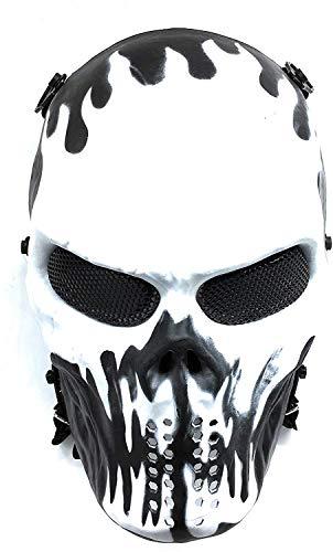 CS Schutzmaske Halloween Airsoft Paintball Full Face Skull Skeleton Maske (Schwarz/Weiß)