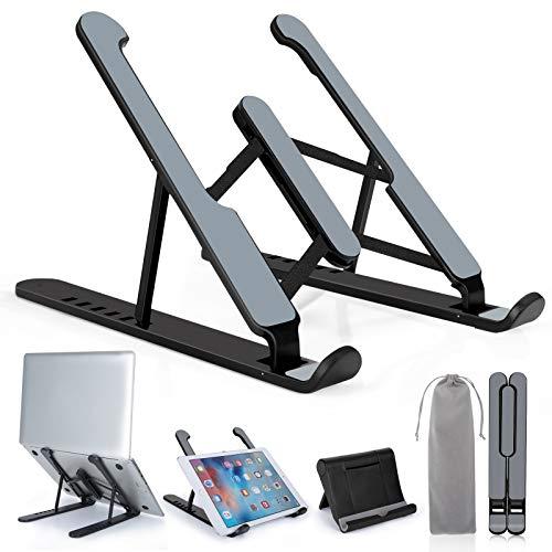 Acksonse Laptopständer, Tragbarer Verstellbarer Laptop Halter, Leichtem Rutschfester Ständer, Faltbarer Riser für 10-17 Zoll Laptop, Pad (Schwarz)