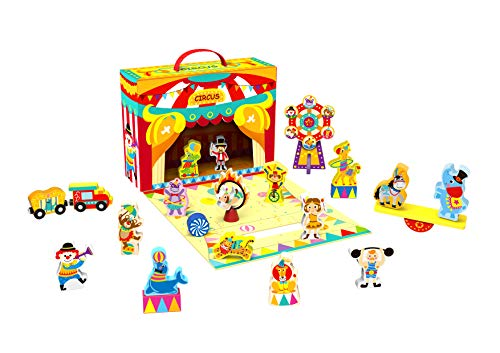 TOYSTER'S Wooden Play-A-Role Circus Playset for Toddlers | Wood Circus Figures and Animals Toys | Educational Toy is Great for Building Blocks | Play Set Suitable for Boys and Girls Ages 2 and Up