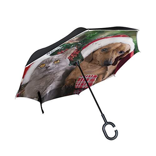 Paraguas reversible con diseño de gato y perro con gorro de Navidad, tamaño grande, doble capa, para el aire libre, lluvia, sol, coche, viaje, con mango en C para protección UV, impermeable, resistente al viento