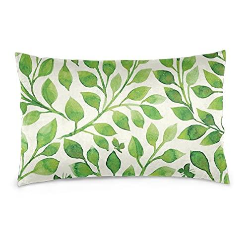 Fundas de Almohada 16X24 Pulgadas Patrón Floral Relleno de Hojas Verdes Fundas de Almohada Sofá Funda de cojín de Coche Decorativo para el hogar 40X60CM