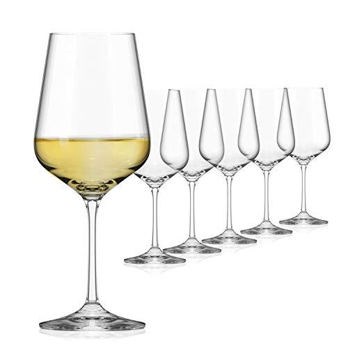 Sahm Set calici Vetro 6 Pezzi | Bicchieri Calice 360ml | Calice Vino Bianco Elegante e Resistente | Calici di Vetro per Vino | 6X Bicchieri Vino