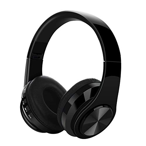 Premium Rechargeable Wireless Headphones Bluetooth Over Ear Headphones Foldable Headset with Mic (Black-M2)