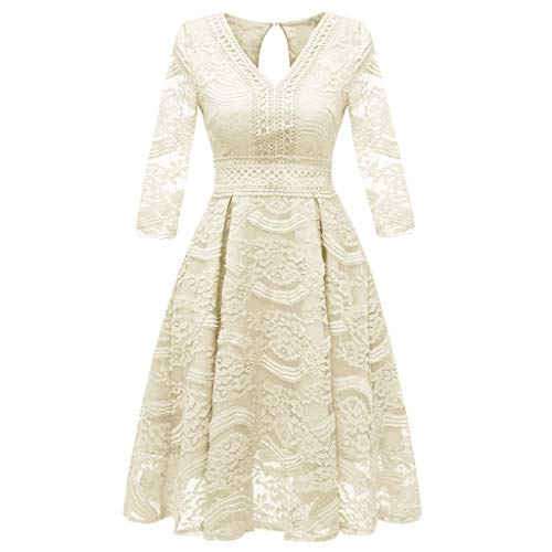 YWLINK Damen Süß Prinzessin Kleid MäDchen Floral Spitze Mesh Patchwork Cocktail Retro Elegant RüCkenfrei O Neck Party Aline Swing Dress...