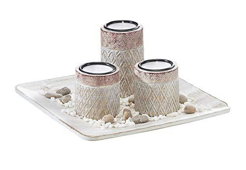 Portavelas cuadrado con 3 velas de té, portavelas con diseño de rombos, decoración de mesa, salón, 22 x 11 cm