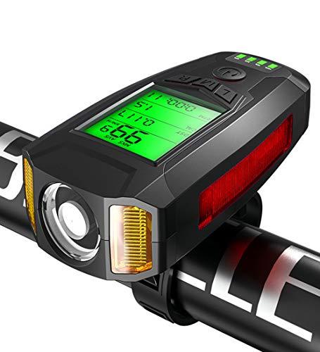 BNTTEAM Fahrradlicht HD HD-Tachometer, wiederaufladbarer USB-Fahrradcomputer mit 130 dB lauter Glocke, 7 Datumsaufzeichnungsmodi, 5 Beleuchtungsmodi und Nebelscheinwerfer