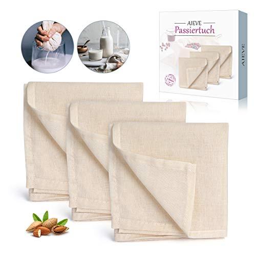 AIEVE 3 Stück Filter Cloth Käsetuch Siebtuch Passiertuch Filtertuch 100% Baumwolle Tuch Set Wiederverwendbar für Nussmilch Suppe Obstsaft joghurt zur Käseherstellung (50 x 50cm)