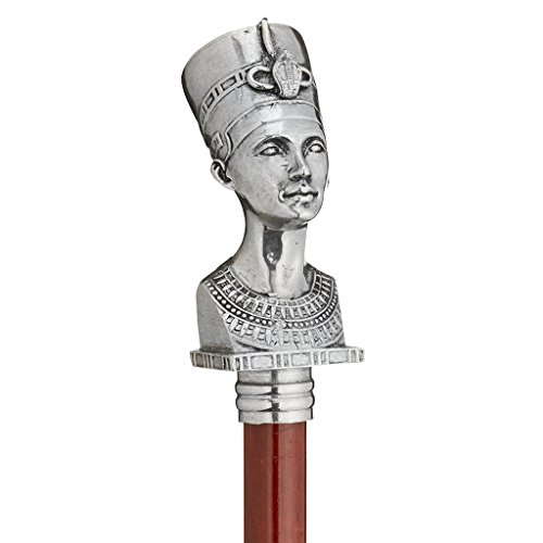 Design Toscano The Padrone Collection Bust of Egyptian Queen Nefertiti Pewter Walking Stick