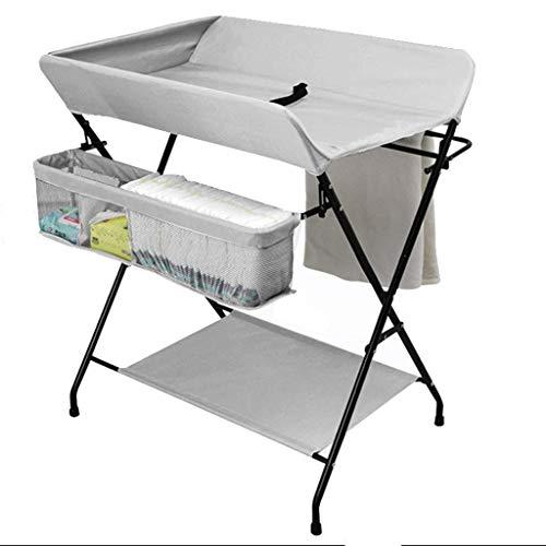JALAL Table à Langer Pliante Grise avec Rangement, pour Petits espaces, Organisateur de Commode pour Table à Langer pour bébé, 0-3 Ans