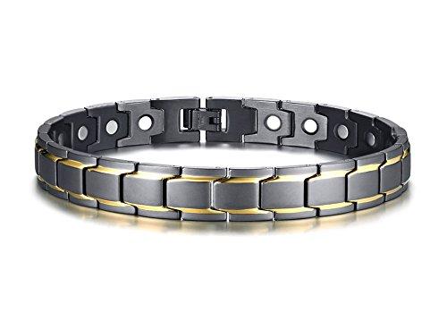 VNOX 12mm Magnetic Health Healing Anklet Bracelet Stainless Steel Black Gold 27cm,for Men