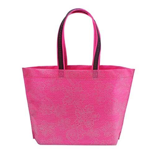 Eleusine Femmes Lady Rose Rouge Sac à Provisions Pliable Non-Tissage Epais Sac à Main Casual Nouveau Fourre-Tout Portable Haute Capacité