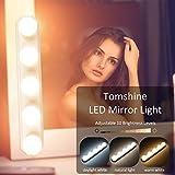 LED Spiegelleuchte mit USB, Tomshine 3 Farbmodus Schminklicht für Spiegel 10 Level Dimmbar und IP43 Wasserdichtes, Hollywood Make Up Licht 8W