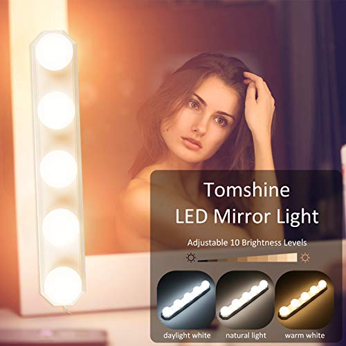 LED Spiegelleuchte mit USB, Tomshine 3 Farbmodus Schminklicht für Spiegel 10 Level Dimmbar und IP43 Wasserdichtes, Hollywood Make Up Licht 8W