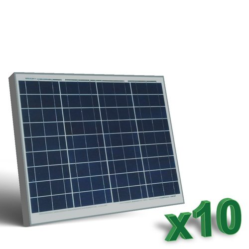 Conjunto de 10 Placa Solar Fotovoltaico 50W 12V total 500W Policristalino adecuado para Camper Caravan Camperista Chalet Boot
