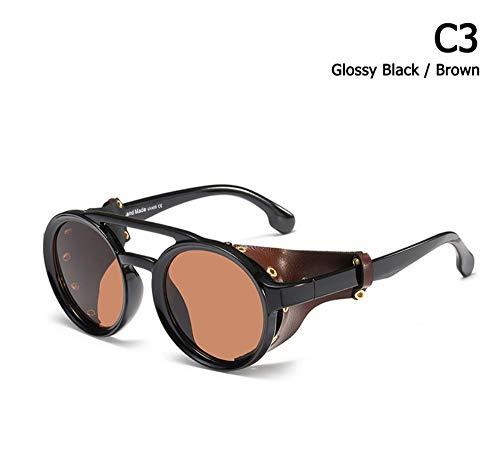 BUYAOAQ Gafas Redondas De Cuero con Protección Lateral Gafas De Sol, C