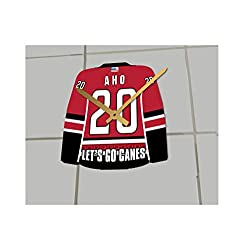 Hockey Jersey ONLY Clocks - N H L Color Themed Clock - Let's GO Editions !! (Let's Go Canes Edition)