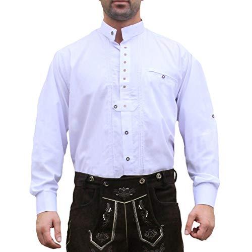 Trachtenhemd Hemd f�r Trachten Lederhosen edelwei� bestickt Wei�, Hemdgr��e:M