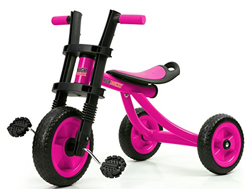 High Bounce Kids Tricycle - Extra Tall 3 Wheel Kids Trike, for Toddlers and Kids Ages 3-6 Adjustable Seat Tricycles, Soft Rubber Handle (Pink)