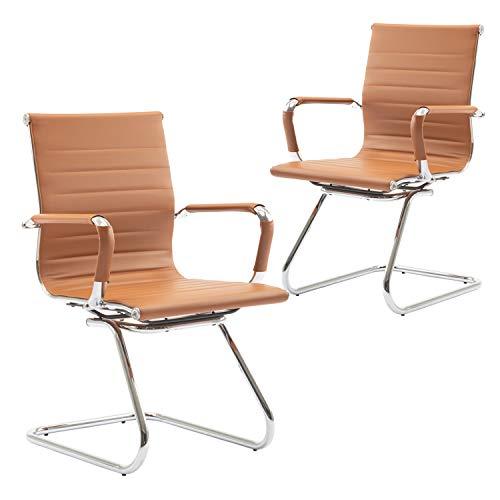 Wahson Konferenzstuhl aus PU-Leder Besucherstuhl mit Chromgestell, Bürostuhl 2 Stück Terracotta