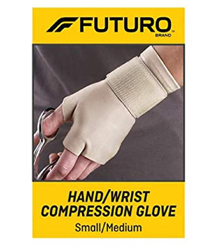 FUTURO Hand and Wrist Compression Glove, Provides Support and Compression to Arthritic and Painful Hand Joints, Small/Medium, Beige
