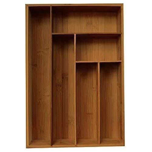 Lurch 10715 Besteckkasten Bambus groß mit 6 unterschiedlich großen Fächern, 44,5 x 30,5 x 6,5 cm