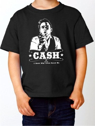 BIGTIME.de Kinder T-Shirt Johnny Cash Walk The Line Kult Fan Fun Shirt schwarz E128-kids Gr. 104