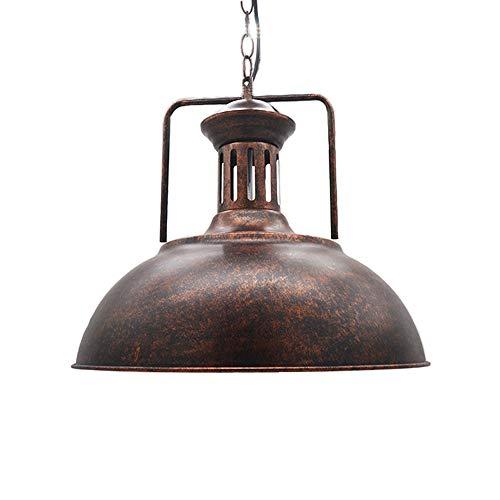 Huahan Haituo Hängeleuchte Metall Malerei Kronleuchter Vintage Antik Deckenleuchte EDISON Durchmesser 33 cm /42 cm kabelgebunden Lampenschirm (Ruggine, 42 CM)