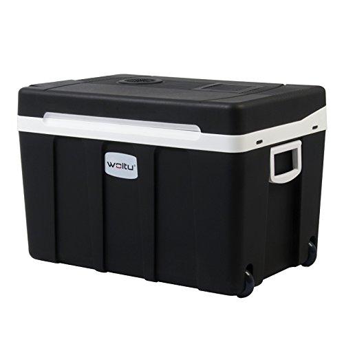 WOLTU AC/DC Nevera Termoeléctrica Portátil Calor/Frío Mini Refrigerador para Coche Camping Conexiones 12V&220V, 50L Lotros de Capacidad A++ Negro KUE003sz