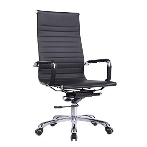 QJF Silla de computadora de oficina para el hogar, elegante y minimalista con respaldo alto negro que gira con apoyabrazos ergonómica silla de oficina para conferencias