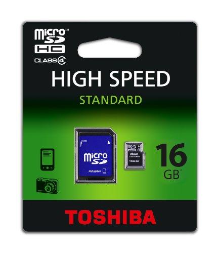 Toshiba Scheda di Memoria Micro SD High-Speed con Adattatore SD, 16 GB, Nero