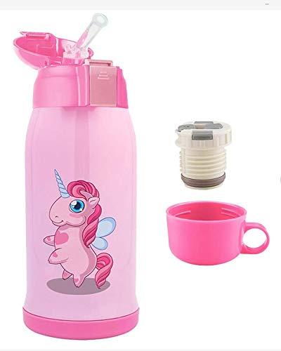 Bioasis 600ml Vakuum Trinkflasche, Isolierte doppelwand Wasserflasche Thermoskanne auslaufsicher, BPA Frei, 3 Deckel für Sport, Fitness, Outdoor, Arbeit, Kinder und Schule, Pink